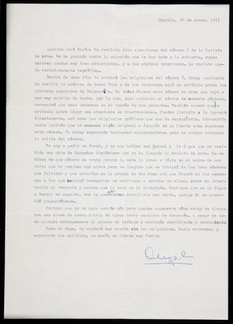 Carta de Ángel Crespo a José María Iglesias (1971). Archivo de la Revista de Arte (Mayagüez). Centro de Documentación