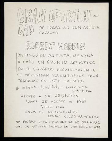 Convocatoria para el evento artístico de Robert Morris en el campus de Mayagüez (1969). Archivo de la Revista de Arte (Mayagüez). Centro de Documentación